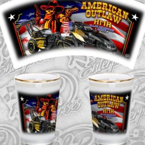 American Outlaw Shot Glass Fuel Altered and Funny Car designs